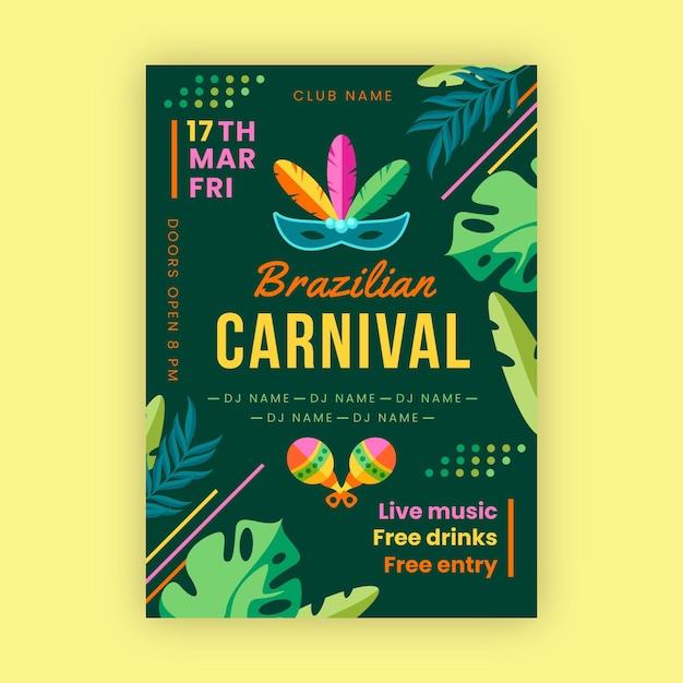 Hand gezeichnetes brasilianisches karnevalsplakat Kostenlosen Vektoren