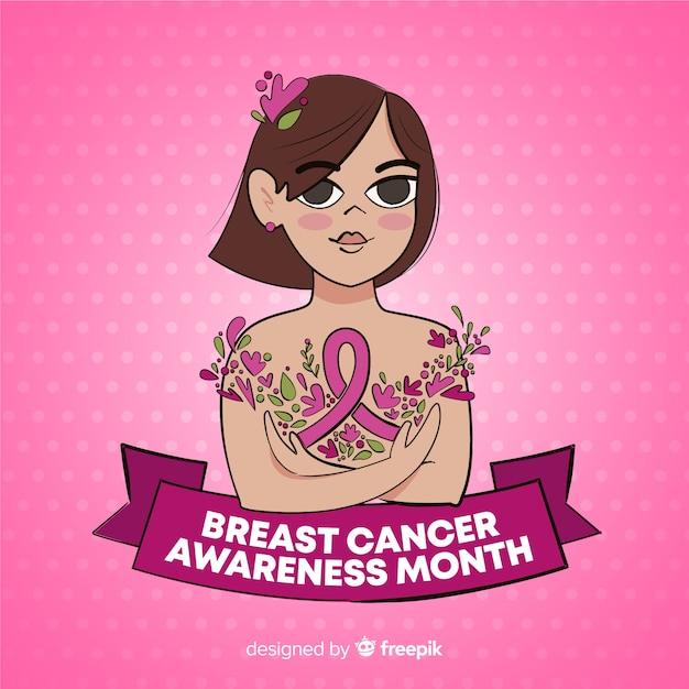 Hand gezeichnetes brustkrebsbewusstsein mit band Kostenlosen Vektoren