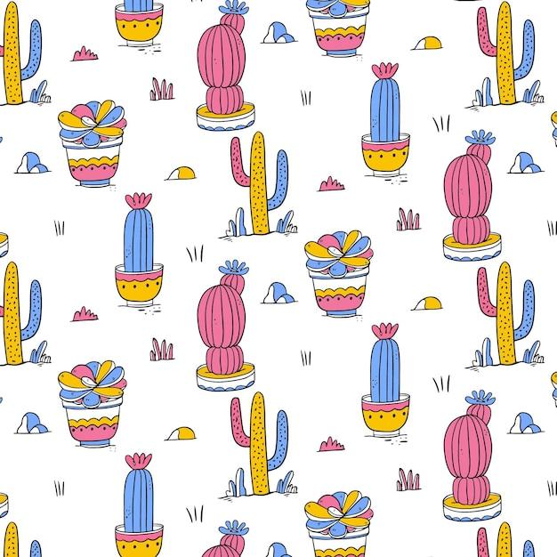 Hand gezeichnetes buntes kaktusmuster Kostenlosen Vektoren