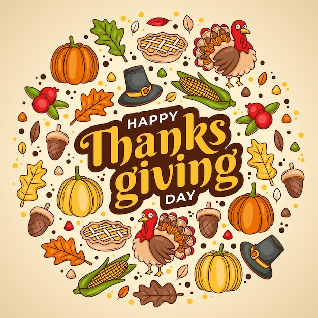 Hand gezeichnetes design des thanksgiving-hintergrunds Kostenlosen Vektoren