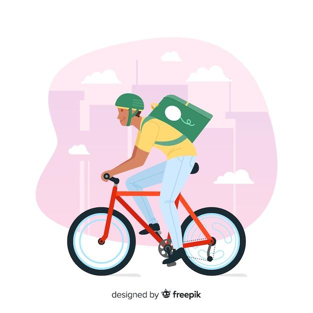 Hand gezeichnetes fahrradlieferungskonzept Kostenlosen Vektoren