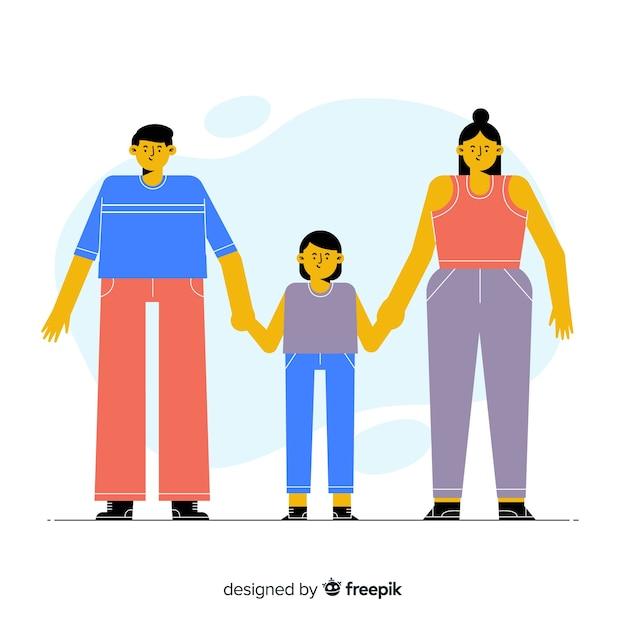 Hand gezeichnetes familienporträthändchenhalten Kostenlosen Vektoren