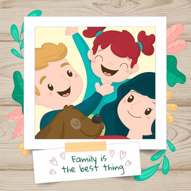 Hand gezeichnetes familienportrait in einem polaroid Kostenlosen Vektoren