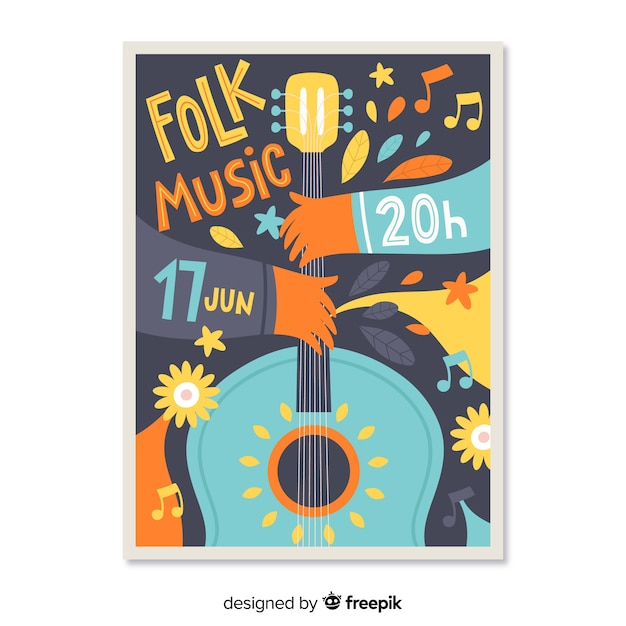 Hand gezeichnetes festivel plakat der musik Kostenlosen Vektoren
