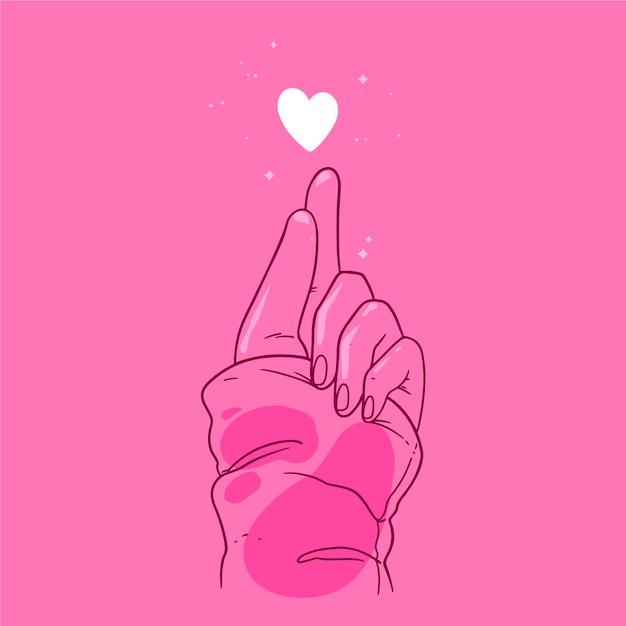 Hand gezeichnetes fingerherzthema Premium Vektoren