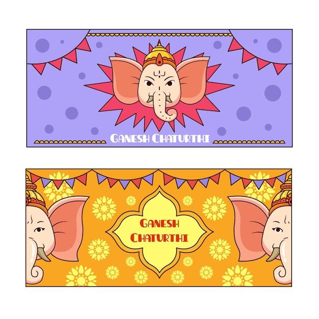 Hand gezeichnetes ganesh chaturthi banner Kostenlosen Vektoren