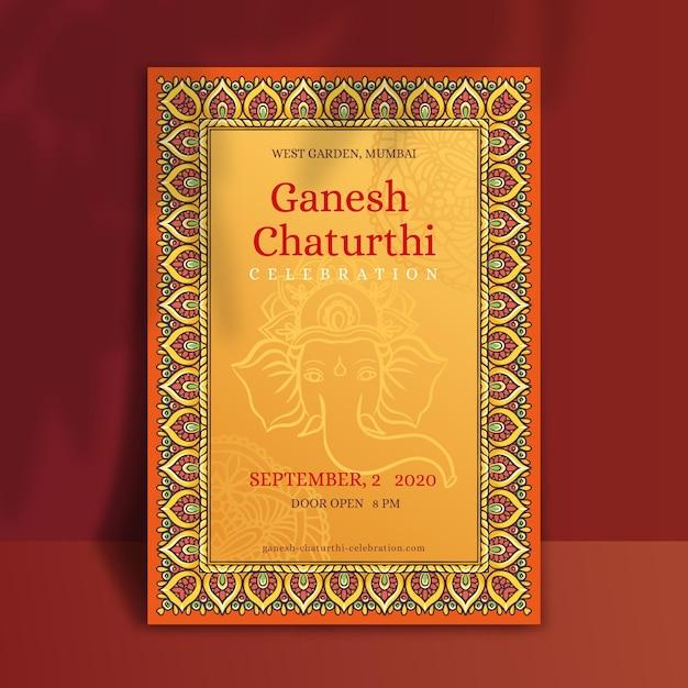 Hand gezeichnetes ganesh chaturthi-plakat Kostenlosen Vektoren