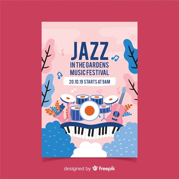 Hand gezeichnetes gartenmusikfestivalplakat Kostenlosen Vektoren