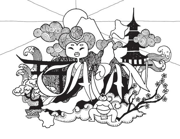 Hand gezeichnetes gekritzel ein thema der reise nach japan Premium Vektoren