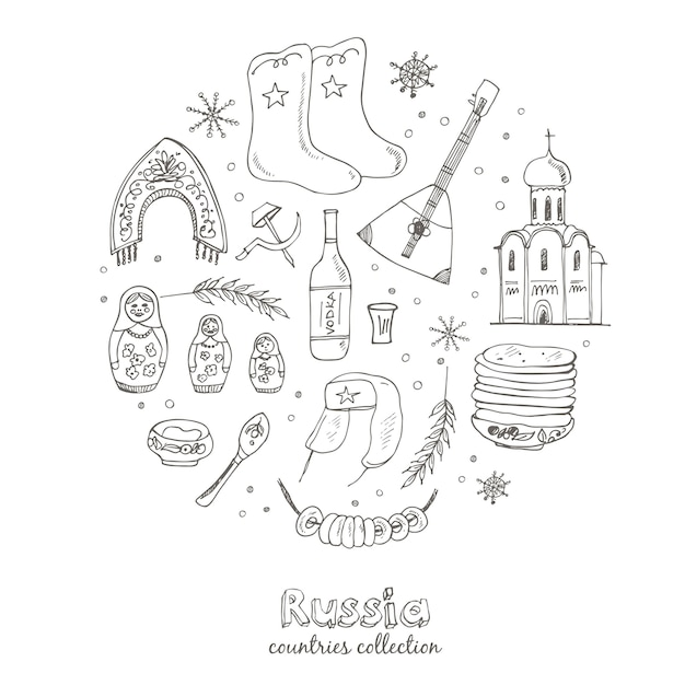 Hand gezeichnetes gekritzel-russland-reiseset. sketchy icons gesetzt. Premium Vektoren