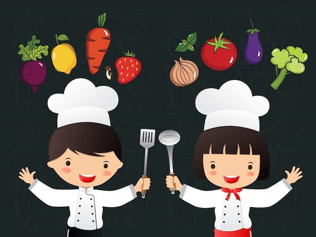 Hand gezeichnetes gemüse kleine köche Premium Vektoren