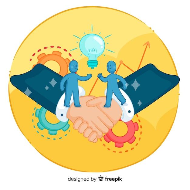 Hand gezeichnetes geschäftsvereinbarungskonzept Kostenlosen Vektoren