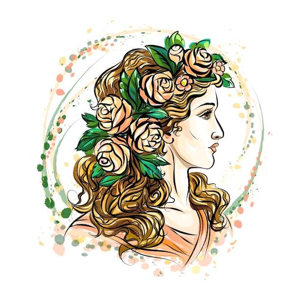 Hand gezeichnetes gesicht einer schönen frau in einem blumenkranz. süßes mädchen mit langen haaren. skizzieren. illustration. Premium Vektoren