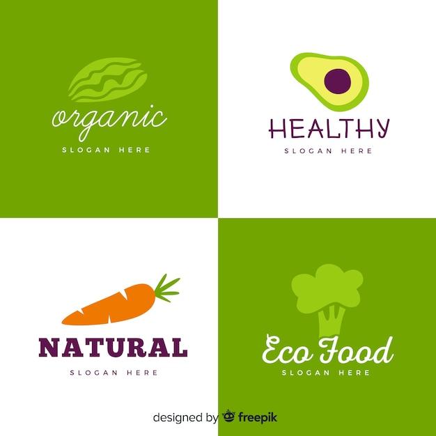 Hand gezeichnetes gesundes nahrungsmittellogo Kostenlosen Vektoren