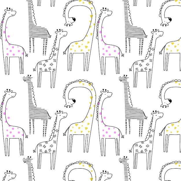 Hand gezeichnetes giraffenmuster Premium Vektoren