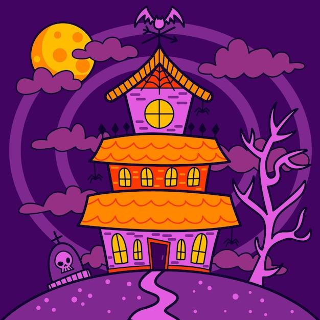 Hand gezeichnetes halloween-haus Kostenlosen Vektoren