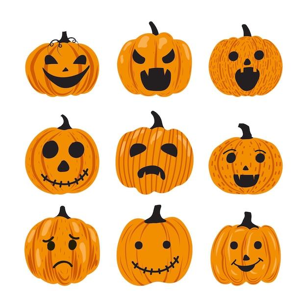 Hand gezeichnetes halloween-kürbisset Premium Vektoren