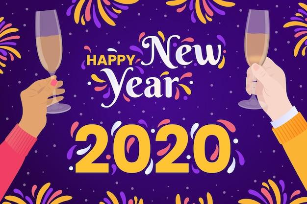 Hand gezeichnetes hintergrundkonzept des neuen jahres 2020 Kostenlosen Vektoren