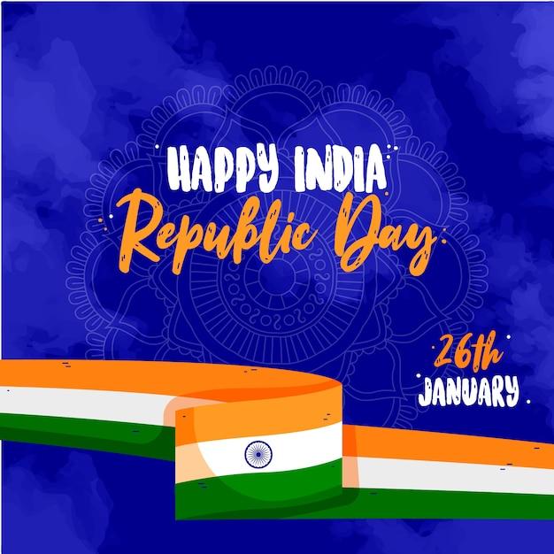 Hand gezeichnetes indisches tag der republik-konzept Kostenlosen Vektoren