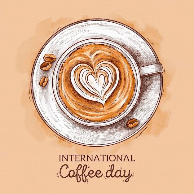 Hand gezeichnetes internationales tag des kaffeekonzepts Kostenlosen Vektoren