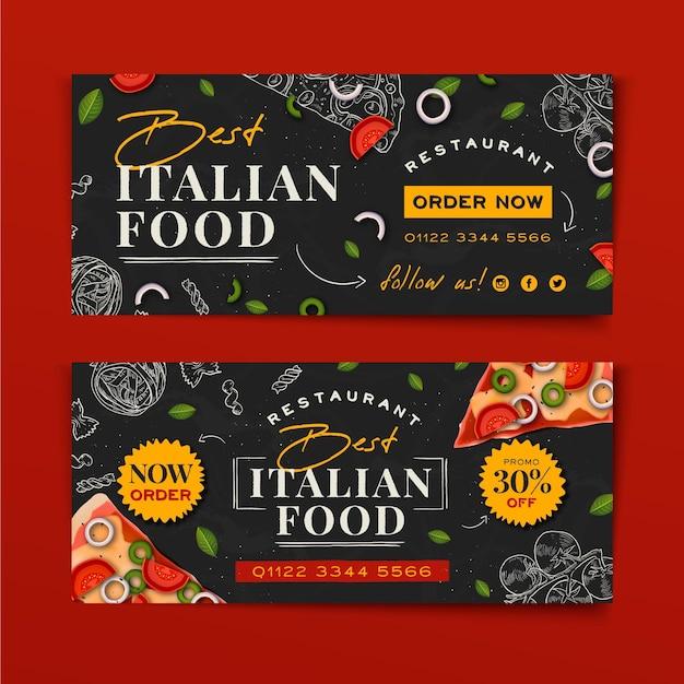 Hand gezeichnetes italienisches nahrungsmittelfahnenentwurf Kostenlosen Vektoren