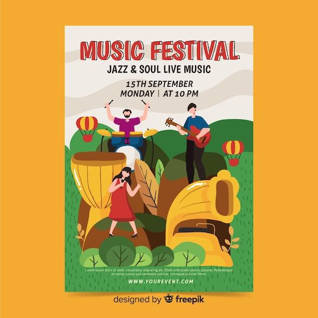 Hand gezeichnetes jazz- und seelenfestivalplakat Kostenlosen Vektoren