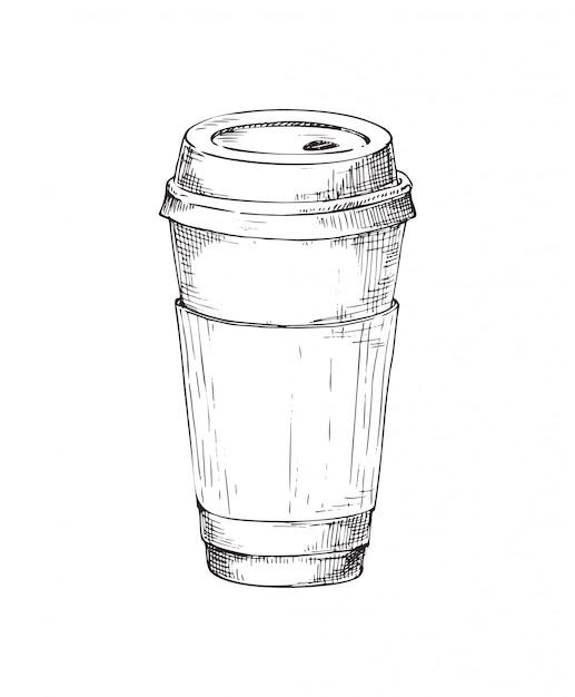 Hand gezeichnetes kaffeepapierschalenmonochrom Premium Vektoren