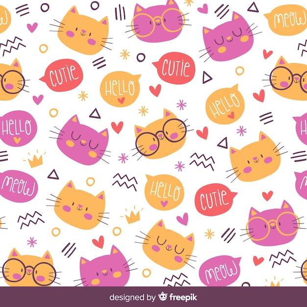 Hand gezeichnetes katzen- und wortmuster Kostenlosen Vektoren