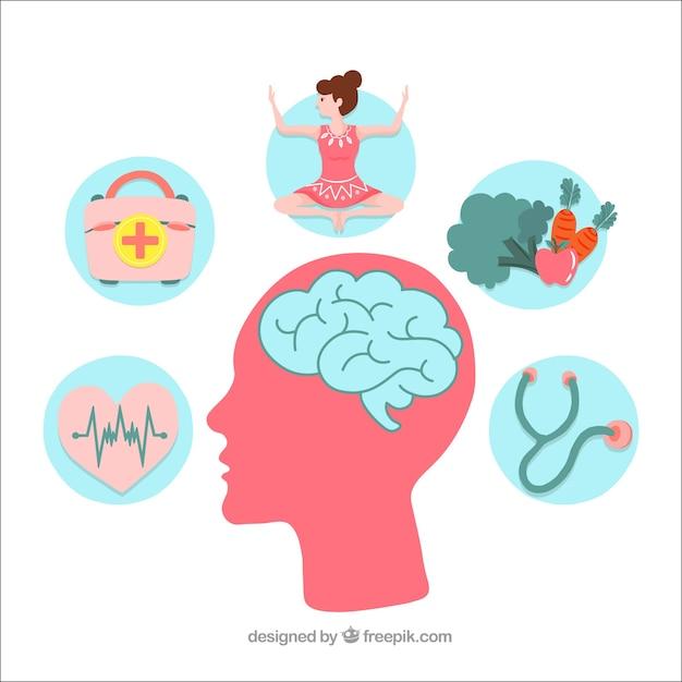Hand gezeichnetes konzept der psychischen gesundheit Kostenlosen Vektoren