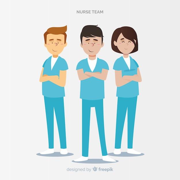 Hand gezeichnetes krankenschwesterteam Kostenlosen Vektoren