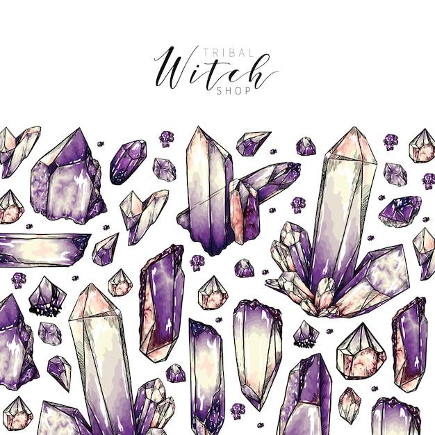 Hand gezeichnetes kristallgruppenmuster Premium Vektoren