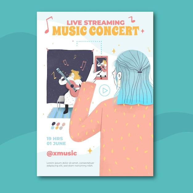 Hand gezeichnetes live-streaming-musikkonzertplakat Kostenlosen Vektoren