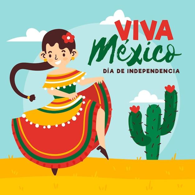 Hand gezeichnetes mexikanisches unabhängigkeitstagkonzept Kostenlosen Vektoren