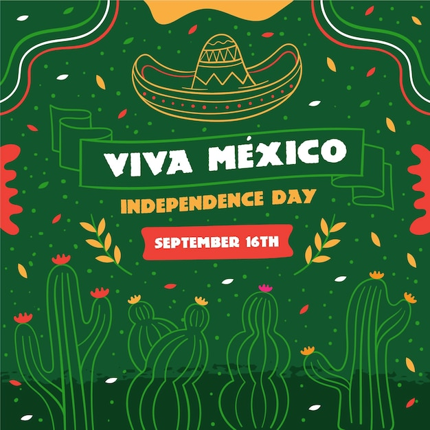 Hand gezeichnetes mexikanisches unabhängigkeitstagkonzept Premium Vektoren