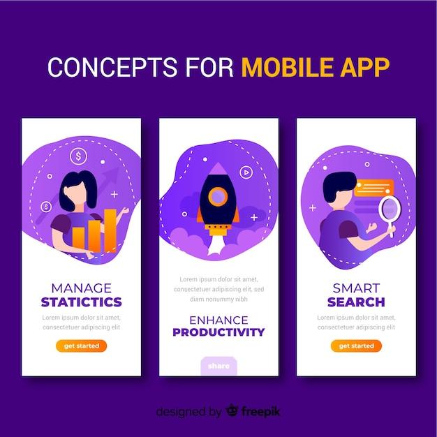Hand gezeichnetes mobiles app-konzept Kostenlosen Vektoren