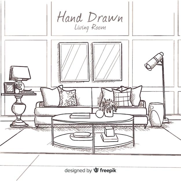 Hand gezeichnetes modernes wohnzimmer Kostenlosen Vektoren
