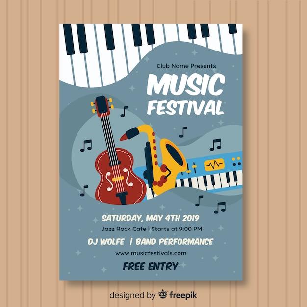 Hand gezeichnetes musikfestivalplakat Kostenlosen Vektoren