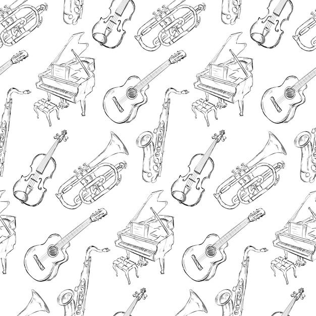 Hand gezeichnetes musikinstrumentmusterhintergrund Kostenlosen Vektoren
