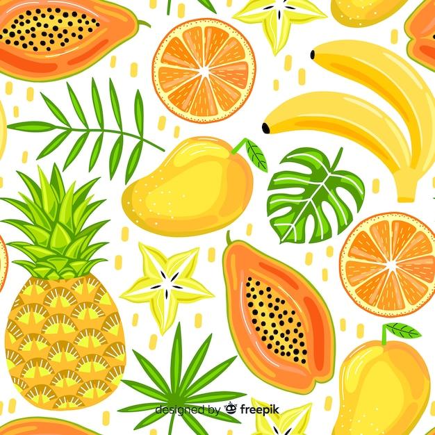 Hand gezeichnetes muster der tropischen frucht Kostenlosen Vektoren