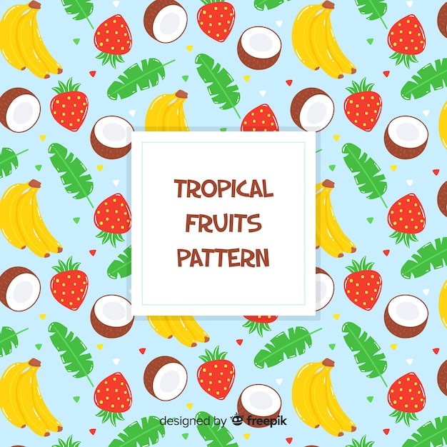 Hand gezeichnetes muster der tropischen früchte Kostenlosen Vektoren