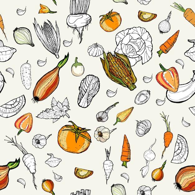 Hand gezeichnetes mustergemüse. Premium Vektoren