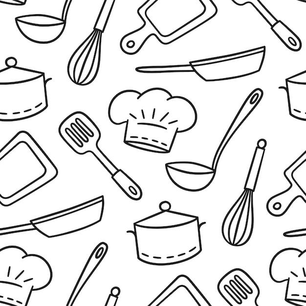 Hand gezeichnetes nahtloses muster auf dem thema der koch- und kochillustration im gekritzelstil auf weißem hintergrund Premium Vektoren