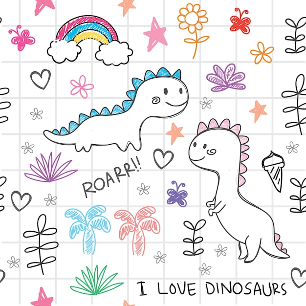 Hand gezeichnetes nahtloses muster der dinosaurier Premium Vektoren