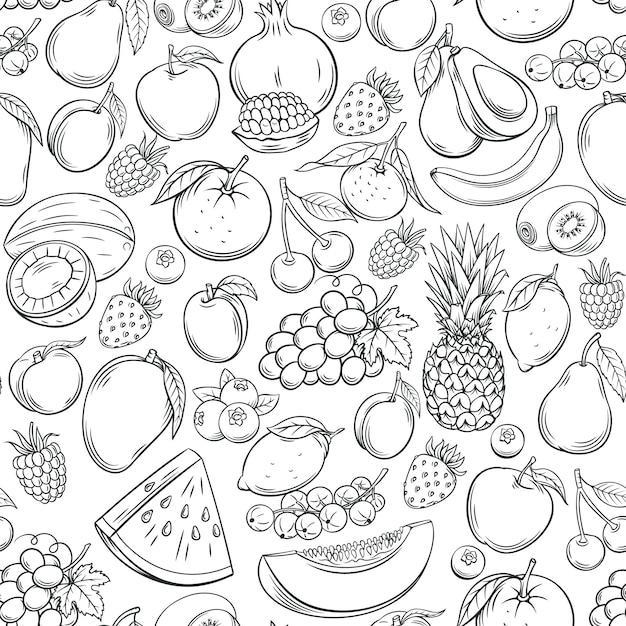 Hand gezeichnetes nahtloses muster der früchte. Premium Vektoren