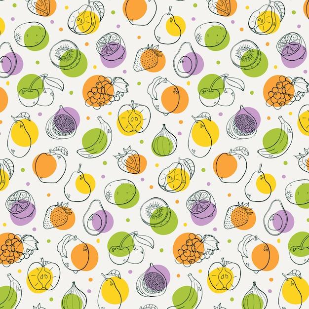 Hand gezeichnetes nahtloses muster der früchte Premium Vektoren