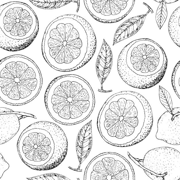 Hand gezeichnetes nahtloses muster der gekritzelzitrone. zitrusfrucht. Premium Vektoren
