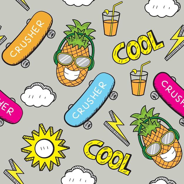 Hand gezeichnetes nahtloses muster der karikatur für t-shirt Premium Vektoren
