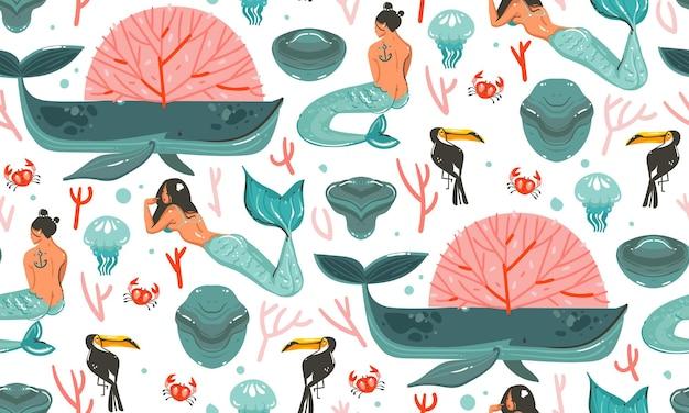 Hand gezeichnetes nahtloses muster der karikatur mit korallenriffen, quallen und schönheitsböhmischen meerjungfrauenmädchencharakteren Premium Vektoren