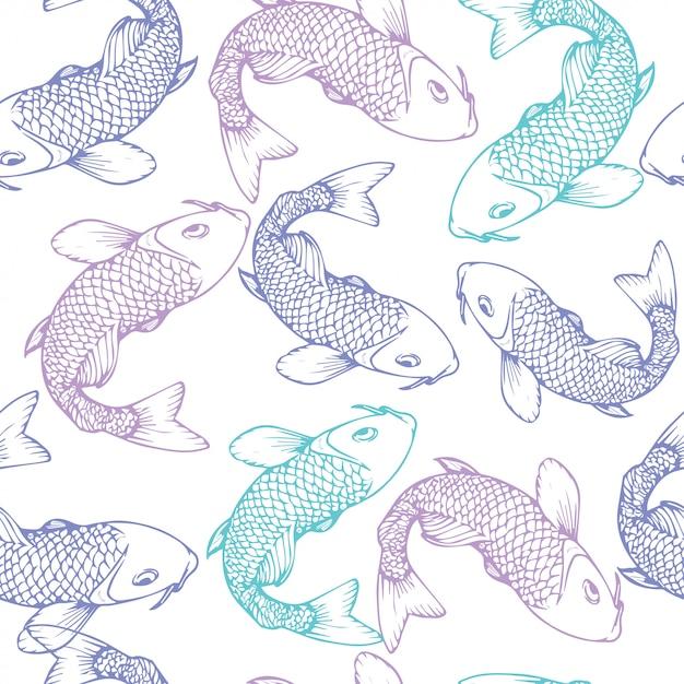Hand gezeichnetes nahtloses muster der koi fischvektor-illustration Premium Vektoren