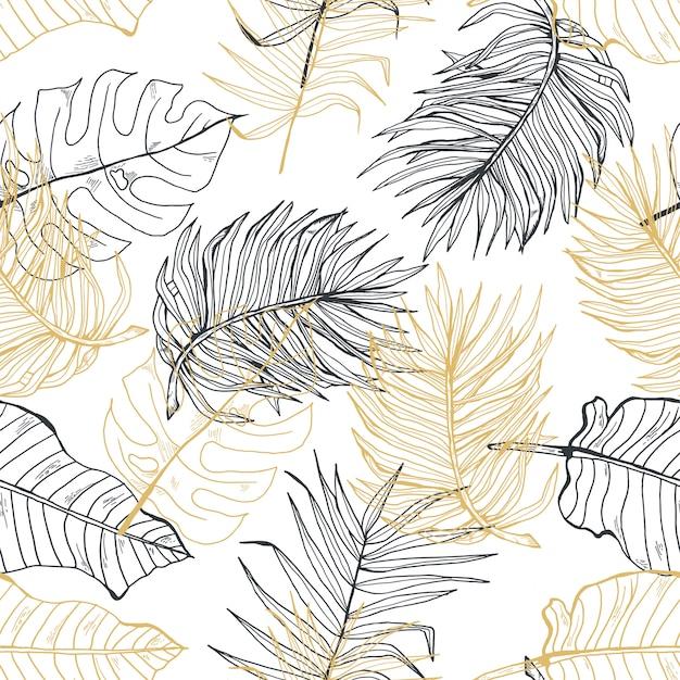 Hand gezeichnetes nahtloses muster der palmblattgoldlinie hand Premium Vektoren
